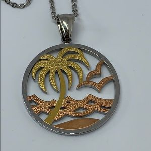 Stainless steel plan tree beach necklace 17""